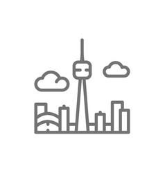 toronto canada city silhouette line icon vector image