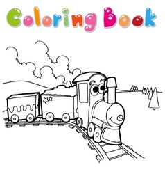 train coloring page cartoon vector image