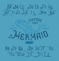 Vintage label font named mermaid vector