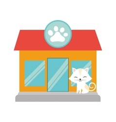 white cat stripes closed eyes pet shop facade paw vector image