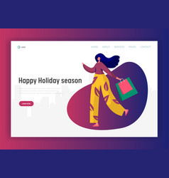 Woman shopping on holidays landing page vector