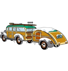 Wooden Station Wagon vector image