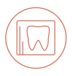X-ray of tooth line icon vector image