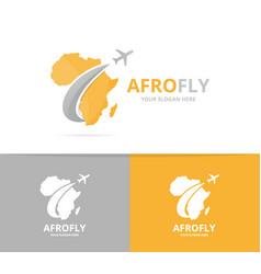 africa and plane logo combination safari vector image vector image