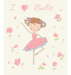 ballerina with flowers vector image vector image