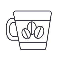coffee cup with beans line icon sign vector image vector image