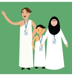 family haj hajj pilgrim man father mother woman vector image vector image