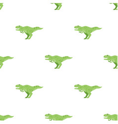 flat style seamless pattern with green dinosaur vector image vector image
