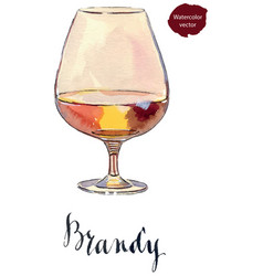 glass of scotch whiskey brandy with ice vector image
