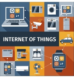 Internet of things flat icons composition vector image vector image