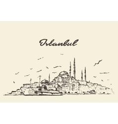Istanbul skyline Turkey drawn sketch vector image vector image