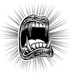 mouth open halloween monster vampire jaws fang vector image vector image