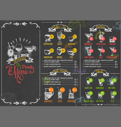 restaurant menu beverage drink poster chalkboard vector image vector image
