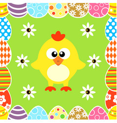 seamless easter background with funny chicken vector image vector image