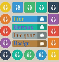shoes icon sign Set of twenty colored flat round vector image