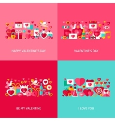 Valentine Day Greeting Set vector image