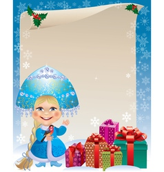 Background with Snow Maiden vector image