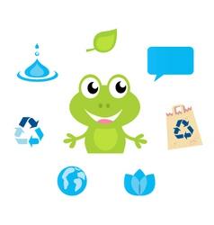cute green cartoon frog icon vector image