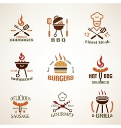 Set of vintage barbecue and grill labels badges vector image