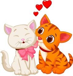 Cartoon cat licking vector