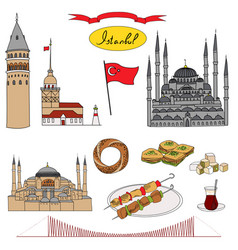 Colorful istanbul tourist isolated set vector