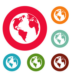 continent on planet icons circle set vector image