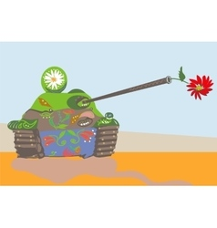 Funnily decorated tank vector image vector image