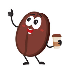 funny coffee bean character with paper cup showing vector image