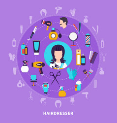 hairdresser round composition vector image vector image