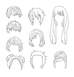 hairstyle man and woman line2 vector image