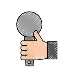 hand holding microphone music song broadcasting vector image