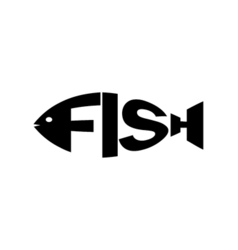Monochrome fish stylized a silhouette with the vector image vector image
