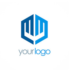 polygon letter m logo vector image