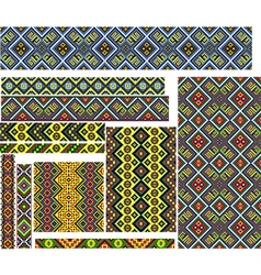 Set of Colorful Patterns for Embroidery Stitch vector image vector image