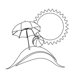 silhouette background beach with umbrella and ball vector image
