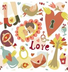 Colorful cartoon romantic love seamless pattern vector image vector image