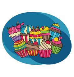 cupcakes design set vector image vector image