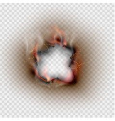 Hole torn in ripped burnt and flame on transparent vector