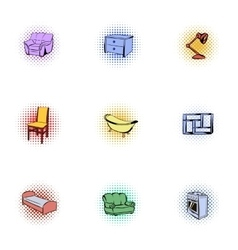 Home environment icons set pop-art style vector image vector image
