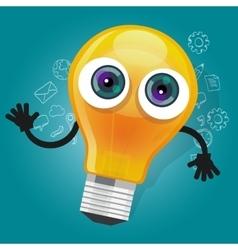 lamp bulb light cartoon character mascot face vector image