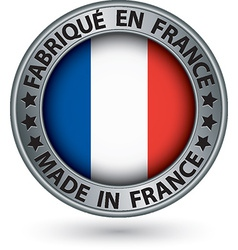 Made in France silver label with flag vector image vector image