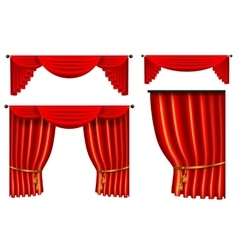 set of 3d red luxury silk curtain realistic vector image vector image