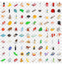 100 nation icons set isometric 3d style vector image