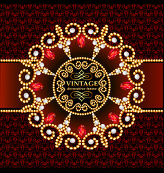 background frame with gold ornaments and precious vector image