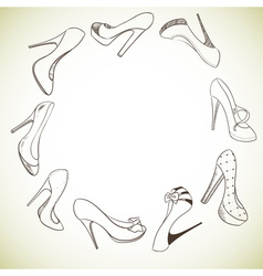 Background with a circle of shoes vector image