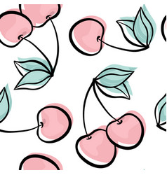 beautiful seamless pattern with cute doodle cherry vector image
