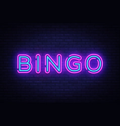 Bingo neon text lottery neon sign design vector