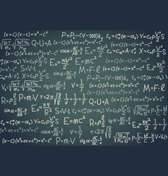 Black board with scientific formula algebra vector