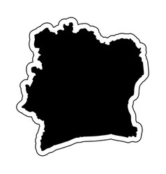 black silhouette of the country ivory coast vector image