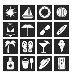 Black Summer and Holiday Icons vector image
